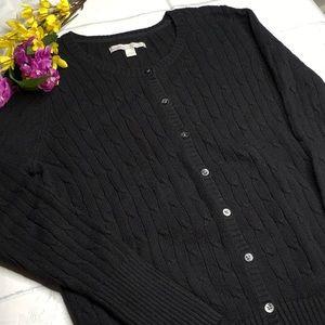 SIMPLE BLACK RIBBED CARDIGAN